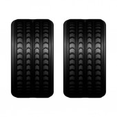 Front view of trucks black rubber large tire