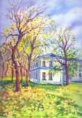 Autumn landscape with a house and trees. Landscape with fallen autumn leaves, watercolor illustration.
