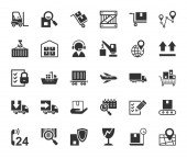 Shipping flat icons monochrome vector Transportation and delivery of goods Gray flat icons on white background Vector clip art