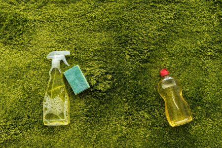 close-up view of bottles with detergent and rag on green carpet with copy space