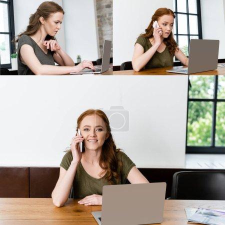Photo pour Collage de pigiste à l'aide d'un ordinateur portable et parler sur smartphone à table - image libre de droit