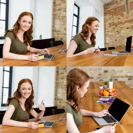 Collage of smiling woman using credit card and laptop at home