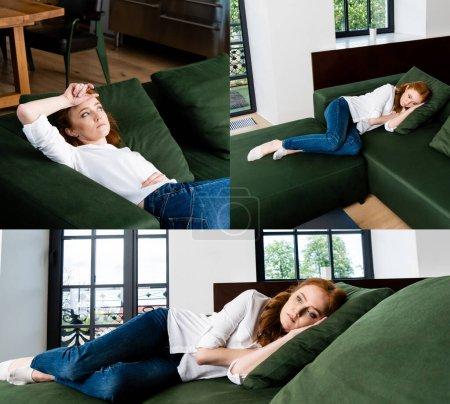 Photo pour Collage de femme déprimée allongée sur le canapé à la maison - image libre de droit