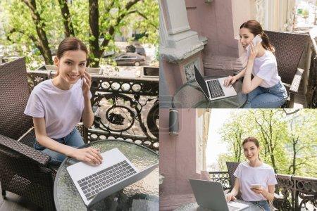 Photo pour Collage de joyeux et beaux freelance parler sur les smartphones près des ordinateurs portables sur les tables - image libre de droit