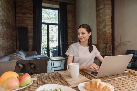 cheerful freelancer looking at french bulldog near tasty breakfast and laptop
