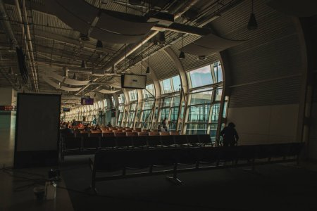 Photo for COPENHAGEN, DENMARK - APRIL 30, 2020: Interior of waiting hall with chairs in airport - Royalty Free Image