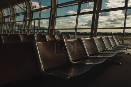 Photo for Rows of chairs in waiting hall of airport in Copenhagen, Denmark - Royalty Free Image