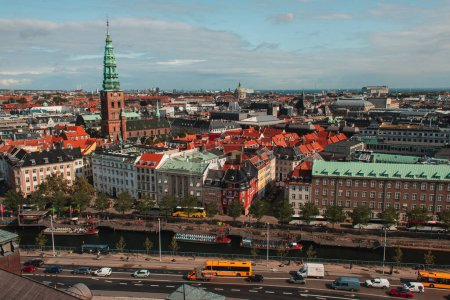 Photo for High angle view of urban street with buildings and road in Copenhagen, Denmark - Royalty Free Image
