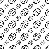 Handdrawn seamless pattern ball doodle icon Hand drawn black sk