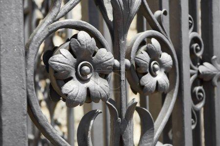 Photo pour Détail porte en fer forgé fleurs forgées - image libre de droit
