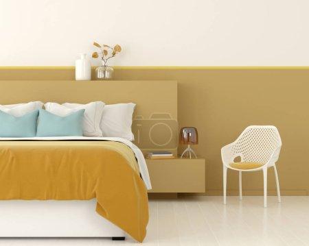 Photo pour Illustration 3D. Intérieur d'une chambre jaune avec une chaise blanche - image libre de droit