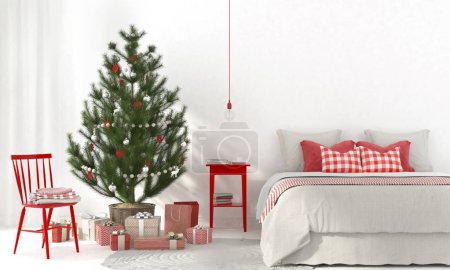 Photo for 3D illustration. Festive interior of a beige bedroom with red decorations and the Christmas tree - Royalty Free Image