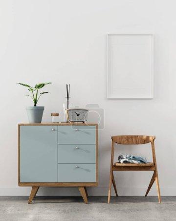 Foto de Ilustración 3D. Mocap elegante interior con un cuadro en la pared, una cajonera de madera y una silla - Imagen libre de derechos