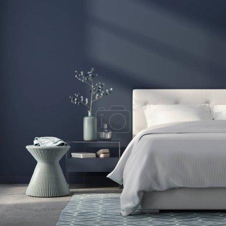 Foto de Ilustración 3D. Interior de estilo dormitorio monocromático en azul con piso de concreto - Imagen libre de derechos