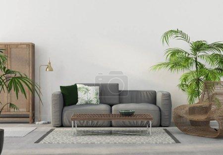 Photo pour Illustration 3D. L'intérieur de la salle de séjour avec meubles en osier et un canapé gris - image libre de droit