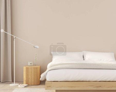 Photo pour Chambre moderne avec meubles en bois, lampe de plancher, murs beiges et rideau/ illustration 3d, rendu 3d - image libre de droit