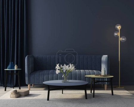 Photo for Modern interior of the living room in monochrome blue with  a stylish velvet sofa, a beige carpet, a golden floor lamp / 3D illustration, 3d render - Royalty Free Image