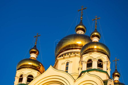 Beautiful view of the Transfiguration Cathedral. Sunset. Dome Shine. Russia, Khabarovsk.