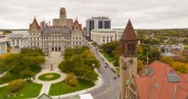 Its a crisp cold day in Albany New York downtown at the statehouse in this aerial view City Hall in the foreground