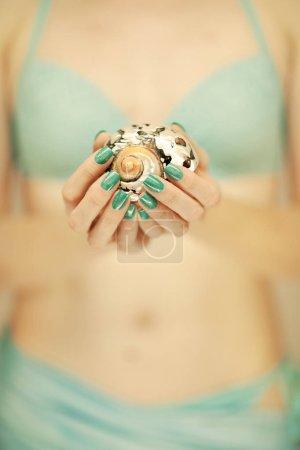 Photo pour Belles mains de femme avec vernis à ongles parfait tenant peu coquille de mer, humeur plage estivale, peut être utilisé comme fond - image libre de droit