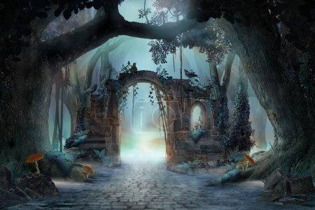 Photo pour Archway dans un paysage de forêt féerique enchantée, humeur sombre brumeuse, peut être utilisé comme arrière-plan - image libre de droit