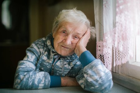 Photo for Portrait of elderly woman. Age 90 years old. - Royalty Free Image