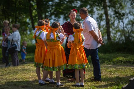 NIKOLSKIY / LENINGRAD REG, RUSSIA - JUN 16, 2018: During festival events dedicated to 69th anniversary of urban-type settlement Nikolskiy formation on the river Svir connecting Onega and Ladoga lakes.