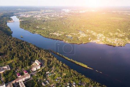 Bird's-eye view of the Svir river, from Ladoga to Onega lake, Leningrad region, Russia.
