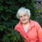 An elderly woman, a portrait in the green near the...