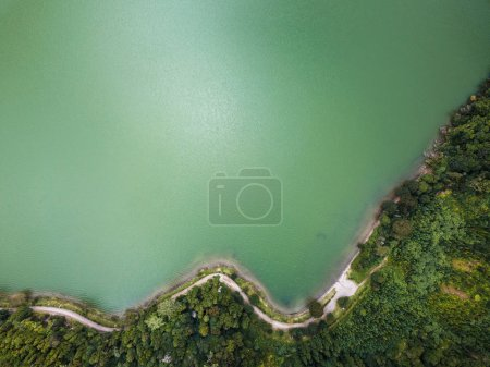 Top view of the Lagoa Verde - lake in Sete Cidades volcanic craters on San Miguel island, Azores, Portugal.