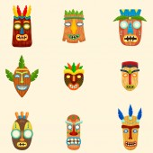 Set of unusual african masks in different shapes and colors isolated on white background