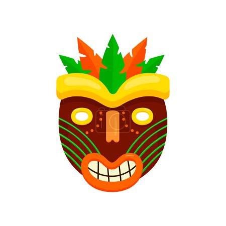 Ciemny brąz okrągłe maska Afrykańska, brzydkie usta uśmiechający się na białym tle