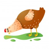 Cute kawai brown chicken eating grains outdoors