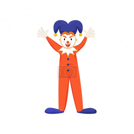 Illustration for Cool funny clown or jester with violet hat and red clothes. Flat style. Vector illustration on white background - Royalty Free Image
