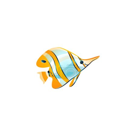 Pez mariposa con bandas opper. Ilustración vectorial en el estilo plano de dibujos animados
