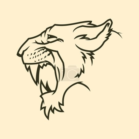 Illustration for Puma head outline silhouette. Roaring cougar icon. Angry jaguar vector symbol. Wild cat with fangs. - Royalty Free Image