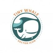 Cute tiny whale cartoon character round icon