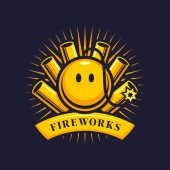 Fireworks firecrackers and smiling bomb with wick - cartoon vector emblem