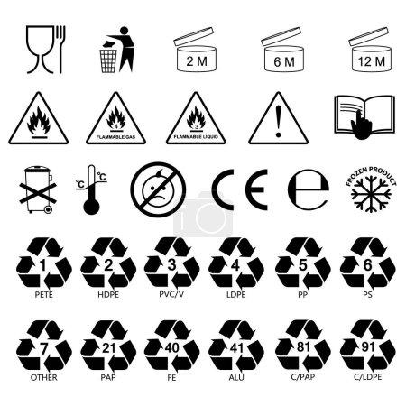 packaging information label icons, packaging label symbols, labels. no fill color, black outline