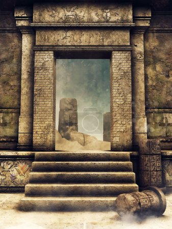 Exit gate of an ancient Egyptian tomb. 3D illustration.. 3D render.