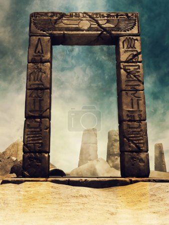 Desert ruins of an ancient Egyptian temple with a stone arch with hieroglyphs. 3D render.