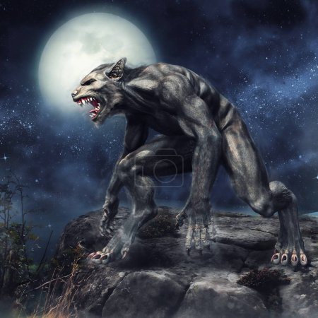 Fantasy werewolf standing on a rocky cliff on a fu...