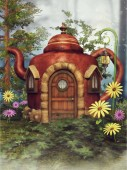 Fantasy teapot cottage on a green meadow among colorful spring flowers. 3D render.