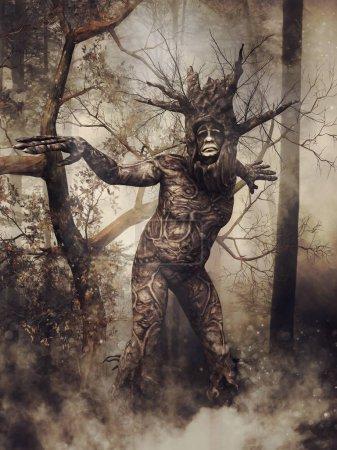 Photo pour Homme arbre fantaisie marchant dans une sombre forêt brumeuse entre les arbustes. rendu 3D. - image libre de droit