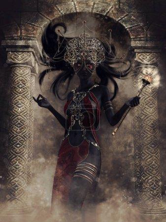Photo pour Sorcière elfe noir de fantaisie avec une baguette magique, debout devant une porte en pierre. rendu 3D. - image libre de droit