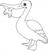 Pelican with fish in its beak coloring page