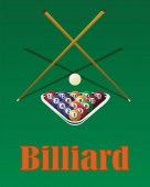 Billiard cue and pool balls in triangle on green table