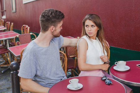Photo for Sexual harassment, woman rejecting hugs of man, offense or dating problem, unhappy girl with annoying boyfriend - Royalty Free Image