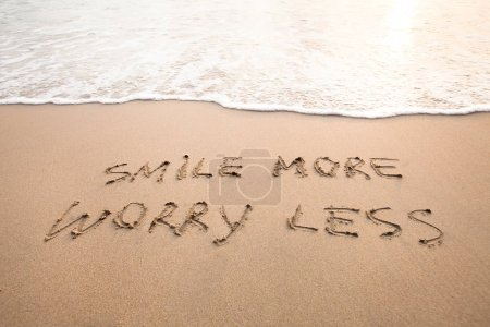Photo for Smile more worry less - positive thinking concept, optimism - Royalty Free Image