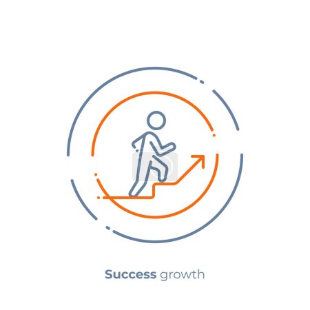 Line art stick walk up. Business growth. Scalable vector icon in modern outline style. Lineart elements vector illustration.